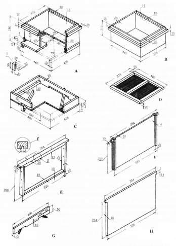 蜂箱结构图 木制