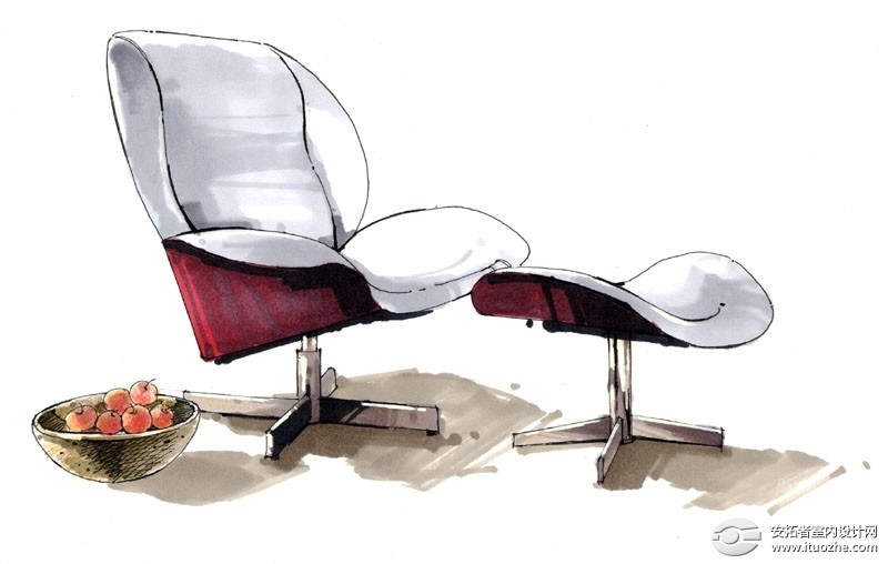 [室内设计手绘] 手绘单体家具效果图