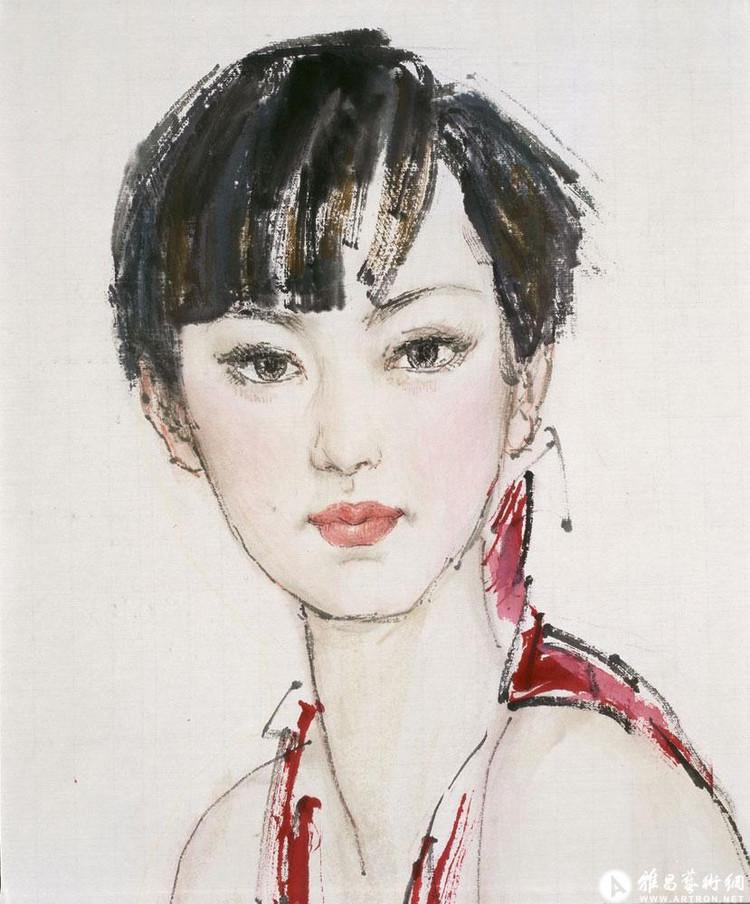 著名画家薛林兴中国画〔肖像图〕