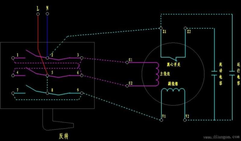 单相电机接线_ 单相电机正反转接线图_单相电机电容接线图_单相电机倒