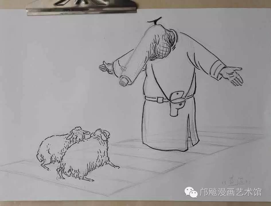 铅笔稿 正三角形构图 元素:斑马线,两只绵羊,一只拦路的狼 用高清
