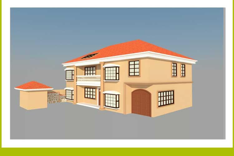 二层带阁楼欧式风格别墅建筑施工图 结构图 水电图