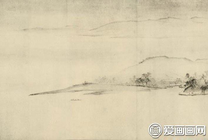 夏圭《溪山清远图》-江南水墨山水画长卷高清大图赏析图片