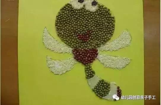 幼儿园秋季谷物手工,教孩子玩粘贴画,创意让艺术更贴近生活!图片