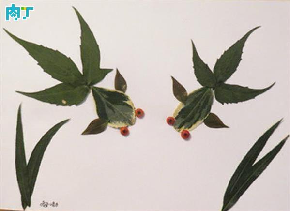 各种动物树叶拼贴画的做法图解 树叶粘贴画图片大全◆肉丁儿童网