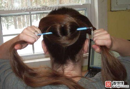 一根簪子的盘长发的方法图片