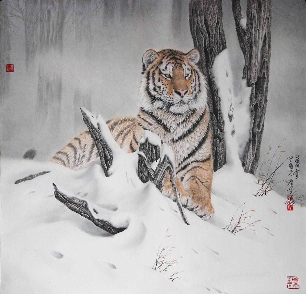 唐坚工笔画动物