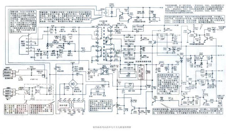 坂���e�.`���9��9l!9olzfh_分为两路:一路经开关变压器t901的初级绕组l8-l5和电感l9o1加到n9ol